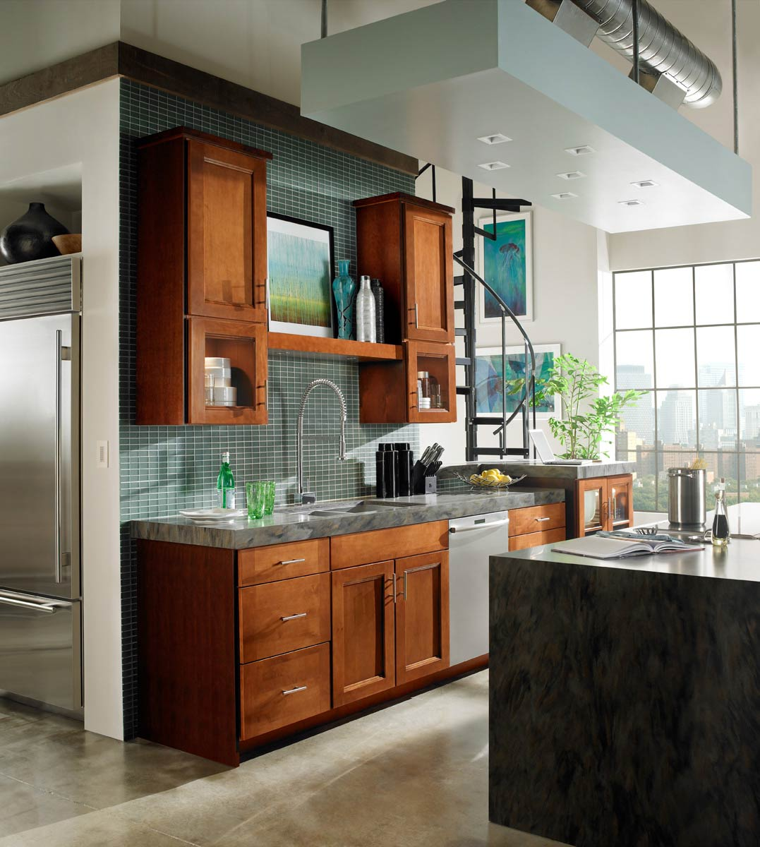Style In 420 Maple Auburn Glaze Kitchen With Island