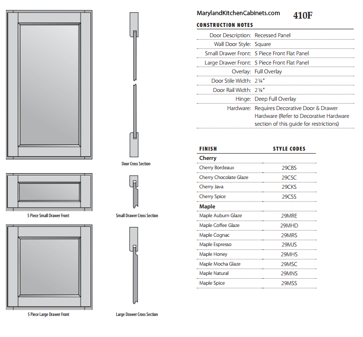 410F Cabinet Door Specifications