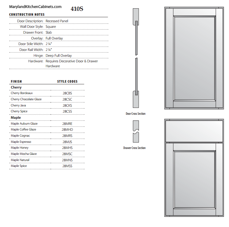410S Cabinet Door Specifications