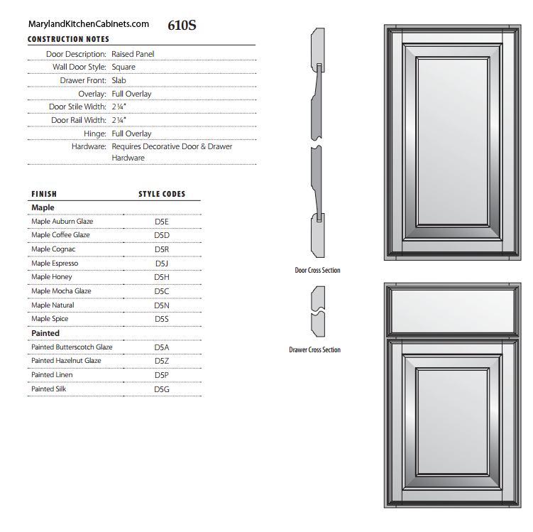 610S Cabinet Door Specifications