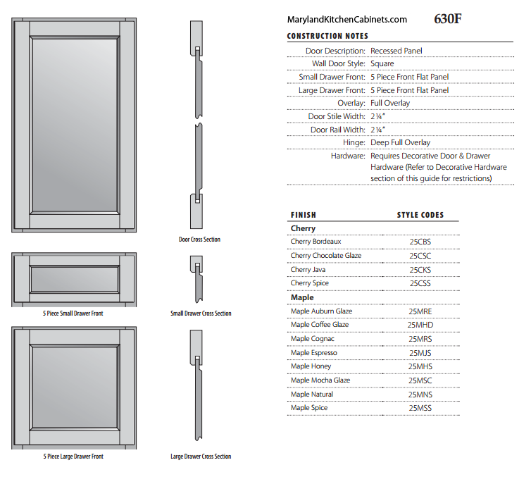 630F Cabinet Door Specifications