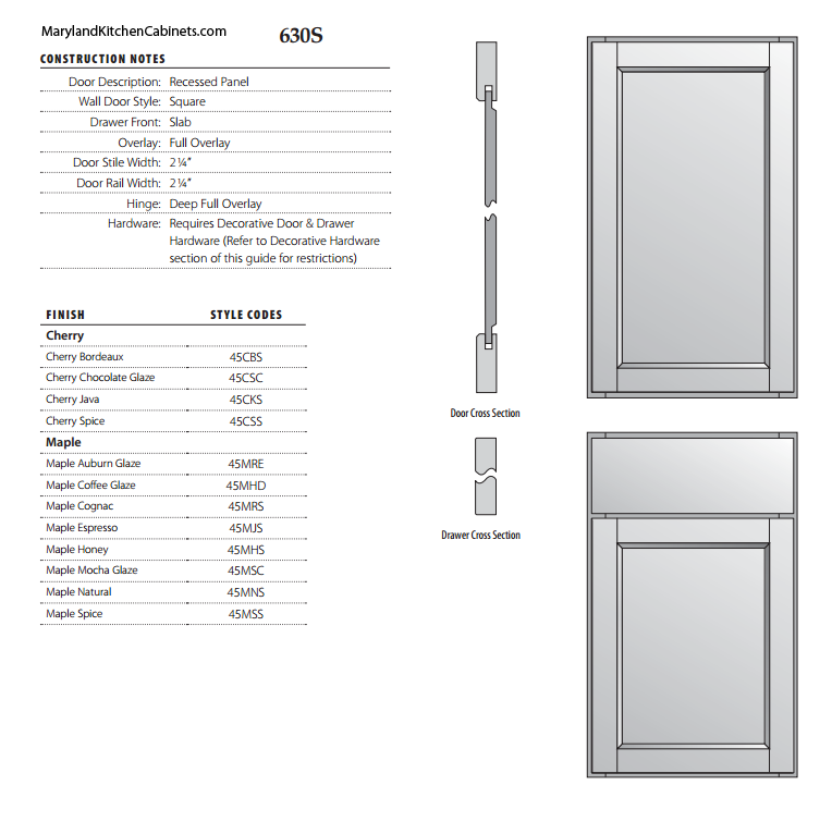 630S Cabinet Door Specifications