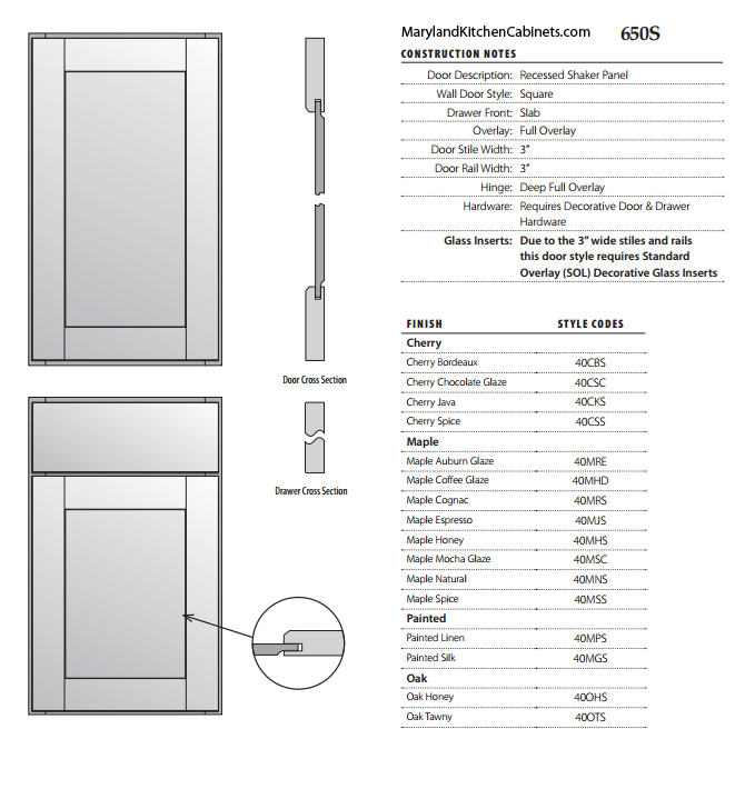 650S Cabinet Door Specifications