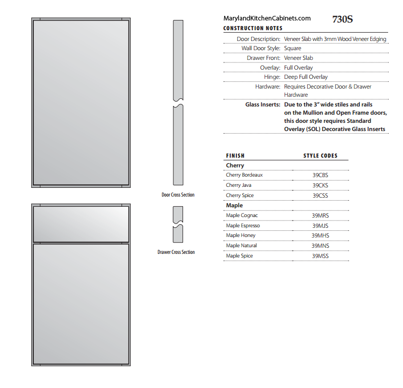 730S Cabinet Door Style Specifications