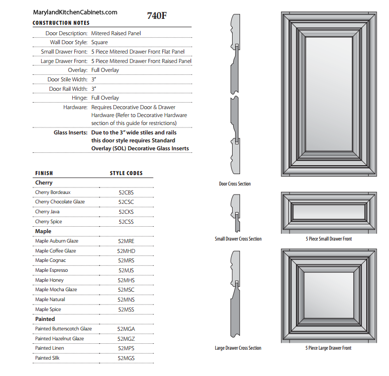 740F Cabinet Door Style Specifications
