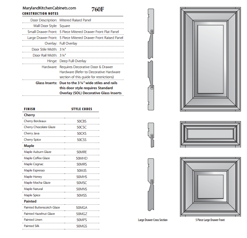 760F Cabinet Door Style Specifications